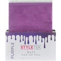 "styletek heavy salon textured prefolded hair styling coloring foil sheet 5x11"" 500 pc plumbed up purple"