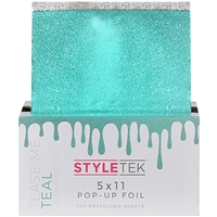 "styletek heavy salon textured prefolded hair styling coloring foil sheet 5x11"" 500 pc tease me teal"