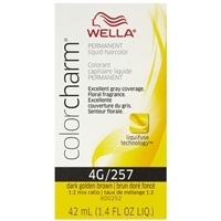wella color charm permanent liquid hair color - 4g/257 dark golden brown