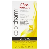 wella color charm permanent liquid hair color - 7g/725 sunlight blonde brown