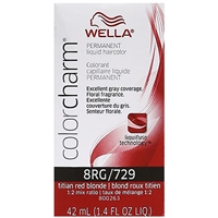 wella color charm permanent liquid hair color - 8rg/729 titian red blonde