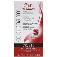 wella color charm permanent liquid hair color - 7r/810 red