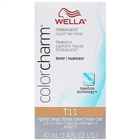 wella color charm permanent liquid hair color - toner t11 lightest beige blonde