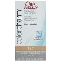 wella color charm permanent liquid hair color - toner t27 medium beige blonde