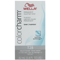 wella color charm permanent liquid hair color - toner t28 natural blonde