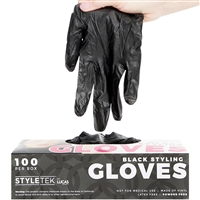 styletek vinyl gloves black medium 100 pc