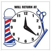 "scalpmaster ""will return at"" sign with clock"