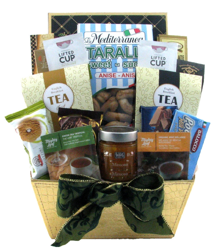 Deluxe tea and cookie delight glitter gift baskets tea gift baskets montreal negle Image collections