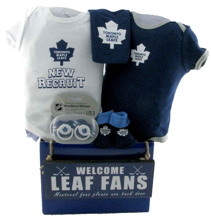 Toronto maple leafs basket with teddy bear glitter gift baskets baby baskets toronto nhl negle
