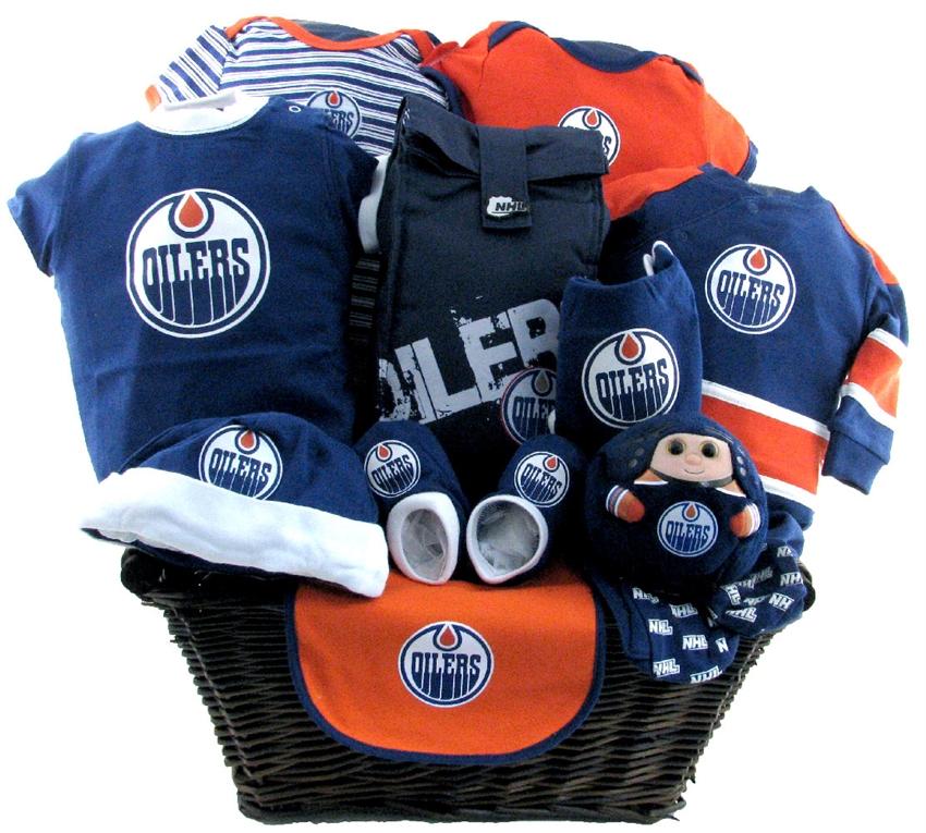 Edmonton oilers deluxe baby basket glitter gift baskets baby baskets edmonton negle Image collections
