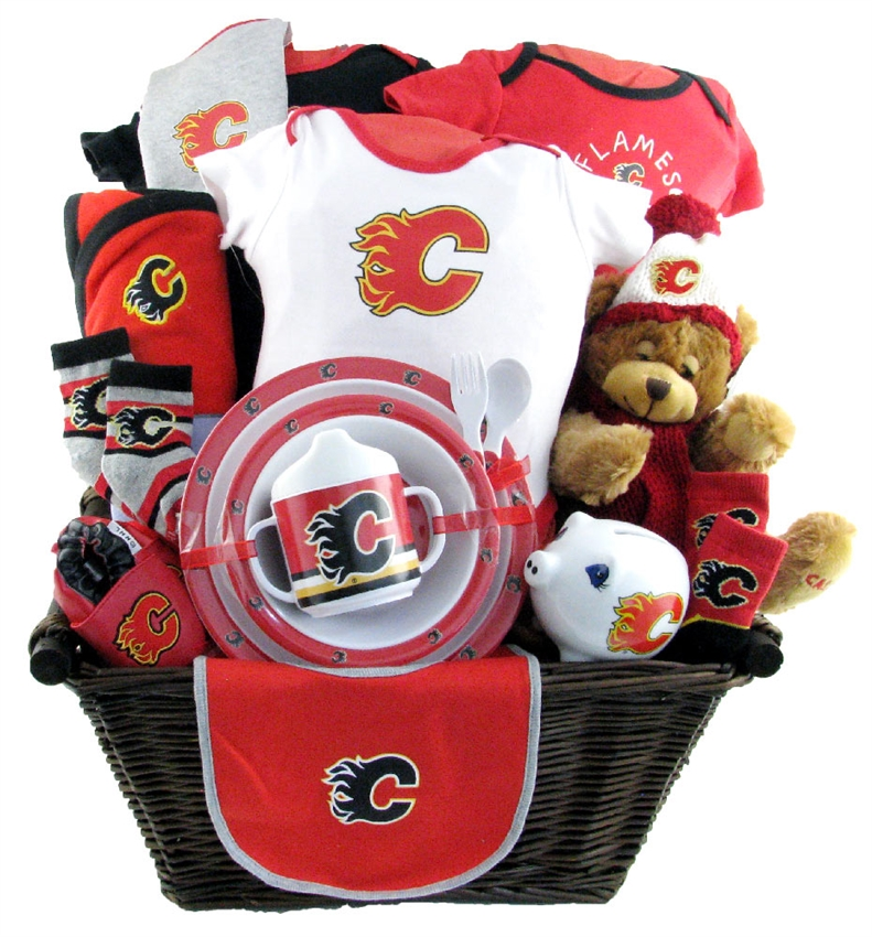 Calgary flames deluxe baby basket glitter gift baskets baby baskets calgary negle Images