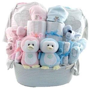 Baby gift baskets pesonalized gifts glitter gift baskets twins baby gift basket negle Image collections
