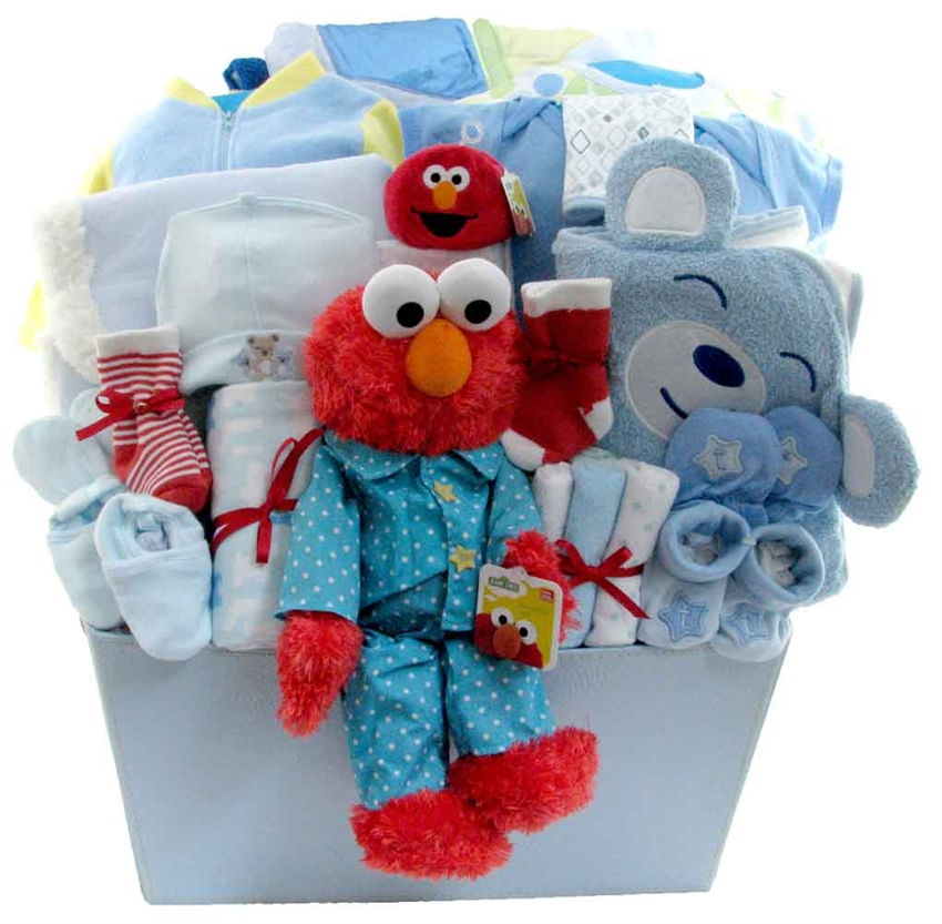 Deluxe elmo baby boy glitter gift baskets neutral baby gift baskets negle Image collections
