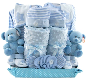 Baby gift baskets pesonalized gifts glitter gift baskets twins baby gift negle Image collections