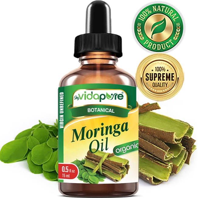 myVidaPure MORINGA OIL ORGANIC WILD GROWTH RAW, REFINED, UNDILUTED. For Skin, Hair, Lip and Nail Care