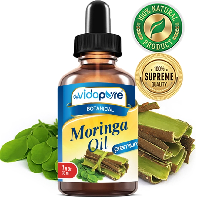 myVidaPure MORINGA OIL WILD GROWTH RAW, REFINED, UNDILUTED. For Skin, Hair, Lip and Nail Care.