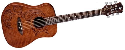 Luna Safari Tattoo Mahogany Acoustic Steel String Travel Guitar 3a