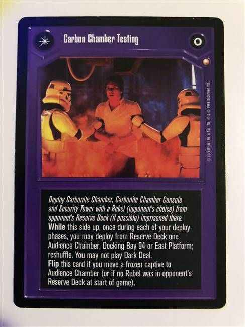 Star Wars CCG (SWCCG) Carbon Chamber Testing/My Favorite Decoration