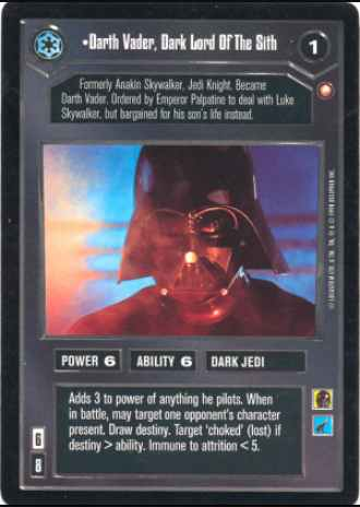 Star Wars CCG (SWCCG) Darth Vader, Dark Lord Of The Sith