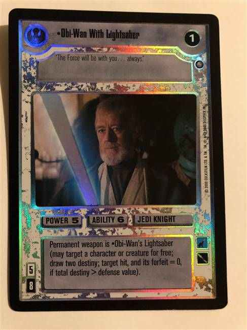Star Wars CCG (SWCCG) Obi-Wan With Lightsaber (Foil)