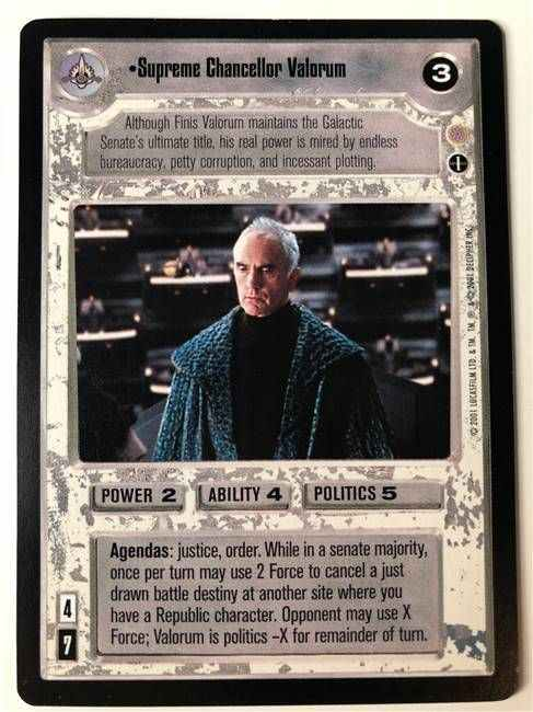 Star Wars CCG (SWCCG) Supreme Chancellor Valorum