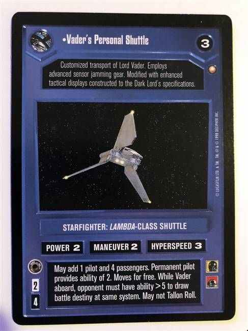 Star Wars CCG (SWCCG) Vader's Personal Shuttle