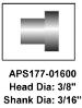 "APS Brake Rivets 177-01600 - 3/8"" Head & 3/16"" Shank Size 