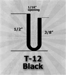 "T-12 Black 1/2"" U-Channel 25 Ft Package"