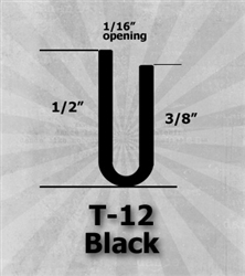 "T-12 Black 1/2"" U-Channel 25 Ft Package - Rubber Aircraft Seals 