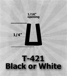 "T-421 Black or White 1/4"" U-Channel 25 Ft Package 