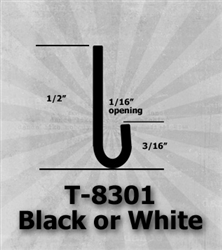 "T-8301 Black or White 1/2"" J-Channel 25 Ft Package 