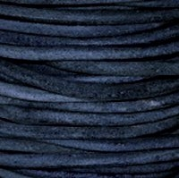 Natural Blue Round Leather Cording