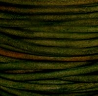 Natural Dark Green Round Leather Cording