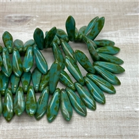 Czech Dagger Beads 5x16mm Opaque Turquoise Picasso