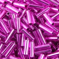 Size 3 Silverlined Purple Bugle Beads