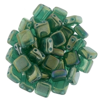 CzechMates Luster Iris Atlantis Green Tile Bead 6mm