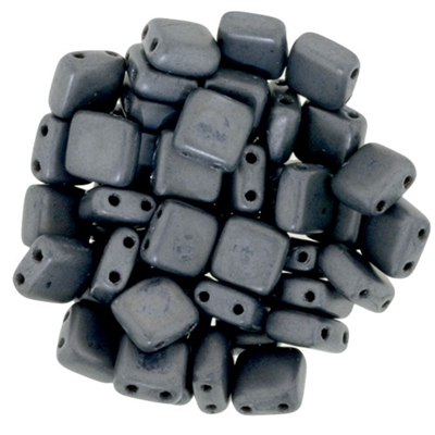 CzechMates Matte  Hematite Tile Bead 6mm