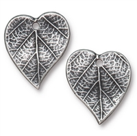 TierraCast Heart Leaf Charm