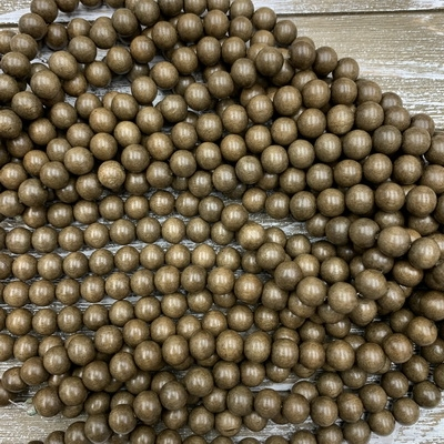 10mm Gray Wood Bead Strands