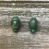 Antique Bronze Green Buddha Bead