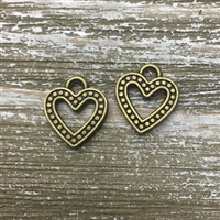 Antique Bronze Open Heart Charm