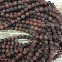 8mm Matte Red Tigers Eye Strands