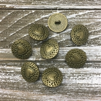 Heart Button - antique bronze