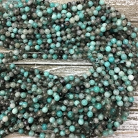 6mm Black Line Amazonite Strands