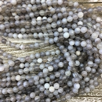 8mm  Gray Striped Agate Strands