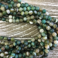 8mm Matte Green Striped Agate Strands