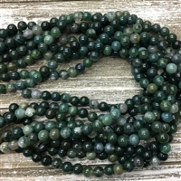 8mm Moss Agate Strands