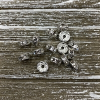 8mm Brass Rhinestone Spacers - Clear Silver