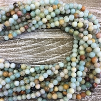 6mm Natural Amazonite Round Beads