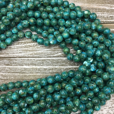 10mm Dark Teal Mother of Pearl Strands